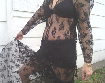 Sale Long Sheer 80s 90s Black Stretch Lace Goth Steampunk Long Sleeve Maxi Festival Dress