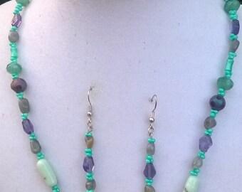 Aqua and Purple Necklace Set/Purple and Aqua Necklace Set/Purple & Aqua Blue Necklace Set
