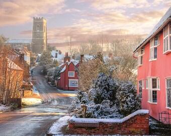 Village in Snow, English Countryside - Fine Art Print by Meleah Reardon