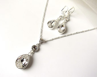 Teardrop Necklace & Earring Set, Teardrop Necklace, CHOOSE LENGTH, Teardrop Earrings, Teardrop Necklace Bridesmaid, Bridesmaid Gift Proposal