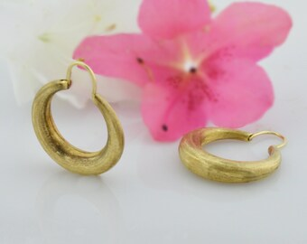 14k Yellow Gold Estate Brushed Gold Hoop Earrings