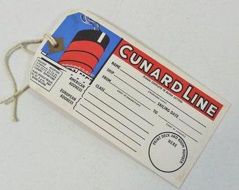 Vintage Ship Luggage Tag, Cunard Line Cruise, Unused, 1964, Baggage