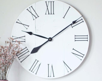 "20"" wall clock - wall clock wood - wall clock modern - true white - farmhouse decor - farmhouse wall decor - living room decor - rustic -"