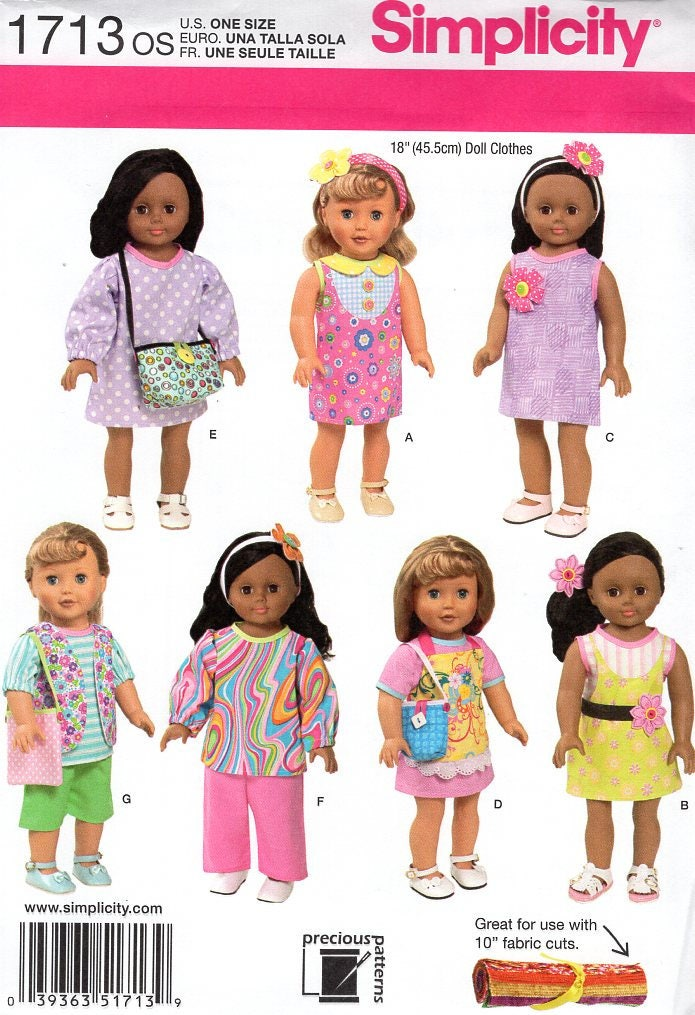 Free Us Ship Simplicity 1713 Out of Print 18 Doll Clothes Wardrobe ...