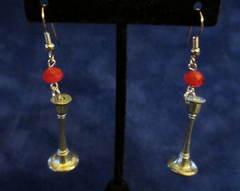 Candlestick Clue Game Piece Red Bead Dangle Earrings