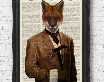 Vintage Dictionary Book Page Art Print Gentleman Fox in Clothes Animal Art Print Wall Art Home Decor Steampunk Art Zebra Animal/Human