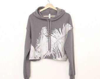 Palm Cropped Hoodie / Yoga Clothes / Beach hoodie / Surf Style / Surf Fashion / California Hoodie / beach fashion california style Yoga Wear