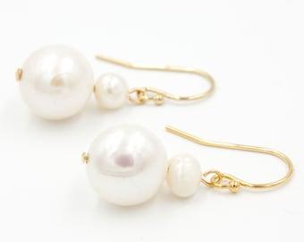 Kaia Double Pearl Earrings | Classic Pearl Drop Earrings | Coastal Drop Earrings