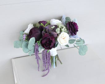 RESERVED for Ann | Deep Wine, Eggplant, Lavender and Ivory | Preserved Eucalyptus and Silk Flower Wedding Bouquet | SG-1052