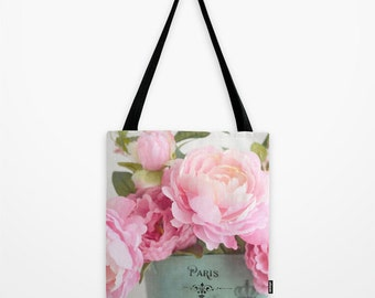 Peony Floral Tote Bag, Dreamy Peonies Floral Tote, Paris Peonies Market Bag, Paris Floral Tote Bag, Shabby Chic Peonies Flower Shopping Bag