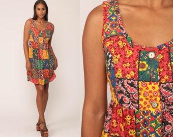 70s Mini Dress PATCHWORK Print Floral Bohemian Hippie Babydoll 1970s Boho QUILTED Summer Button Up Festival Vintage Empire Waist Medium