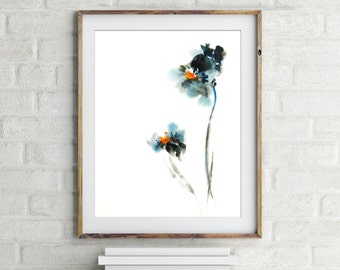 Minimalist blue abstract flowers art print, floral watercolor painting print, minimalist botanical modern wall art print