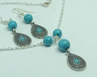 Turquoise gemstone Jewellery set
