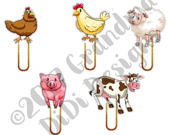 Set of Digital Planner Clips, Farm Animals