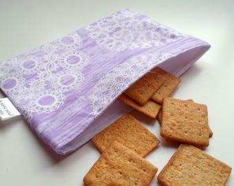 Reusable Snack & Sandwich Bag --Lavender Knot Print, Eco-Friendly