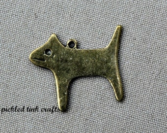 Brass Kitty Cat Charm, 1 inch tall
