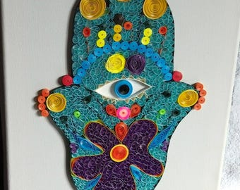 Quilling Hamsa Hand Art on Canvas - Paper quilled wall art