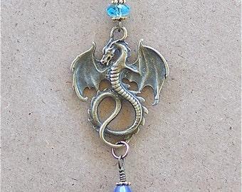 Medieval Dragon Blue Briolette Teardrop Crystal Necklace