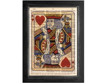 King of Hearts Playing Card - Printed on Vintage Dictionary Paper - 8x10.5