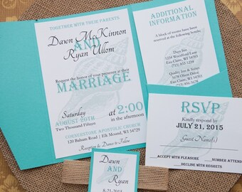 Pocketfold Wedding Invitation, Beach Wedding Invitation, Destination Wedding Invitation, Modern Wedding Invitaton, Custom