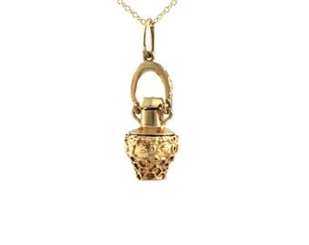 Vintage Gold Perfume Bottle Charm / Pendant