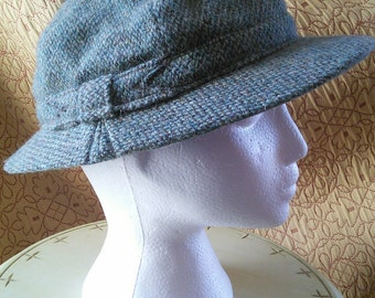 RARE Sherlock wool peaked hat by Ross  of Glasgow // RARE green wool tweed double peaked hat, from Scotland