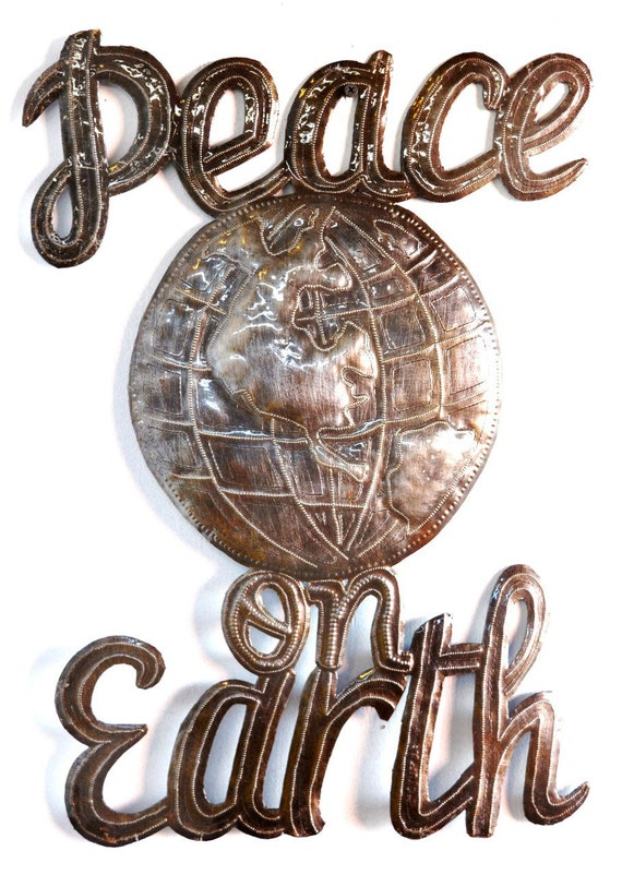 "Peace on Earth Wall Sign, Haitian Steel Drum Art 14"" x 17"""
