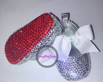 Crystal Bow and Red Sole Bling Baby Shoes