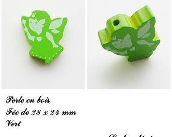 28 x 24 mm wooden bead, Pearl flat fairy: Green