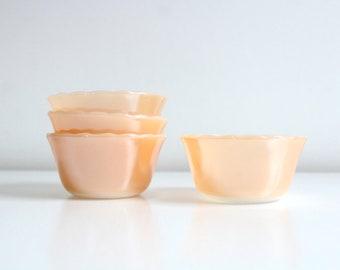 Fire King Bowls, Peach Custard Bowl, Anchor Hocking, Peach Glass Bowl, Peach Fire King, Custard Bowl, Small Bowl, Peach Bowl, Set of 4