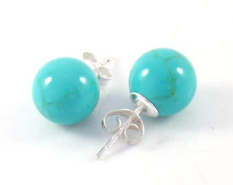 Simple Elegant Blue Turquoise Sterling Silver 10mm Ball Post Stud Earrings