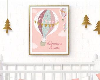 Blush pink HOT AIR BALLOON, Nursery hot air balloon print, Girl nursery hot air balloon print, Pink hot balloon, Girl nursery balloon print