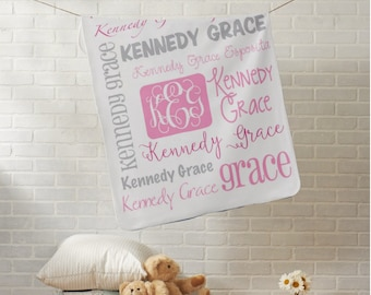 Personalized Baby Blanket - Monogram Baby Gift - Name Blanket - Swaddle Receiving Blanket - Monogrammed Baby Shower Gift