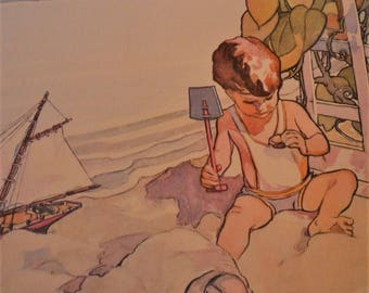 At the Seaside - Jessie Willcox Smith Nursery Print Framable - gift for new mothers 8 by 10 print sailboat gift for sailors
