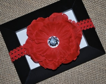Red Flower Hair Clip and Lace Headband - Buy 3 Items, Get 1 Free
