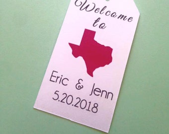 State Tags, Custom, Welcome Tags, State Gift Tags,Hang Tags, Wedding Favor Tags