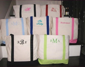 Personalized Canvas Tote bag, Monogrammed tote bag, Personalized Graduation Gift, bridesmaid tote, College Tote Bag, Beach Bag, gift tote