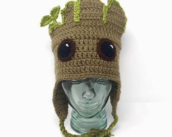Baby Tree earflap hat, handmade crochet || Child, Adult, XL Adult || Ready to Ship