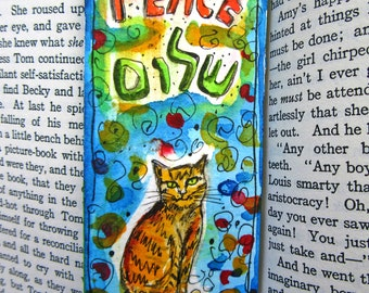 Shalom Art, Cat Bookmark, Love and Peace, Original Watercolor, Jewish Gifts, Hebrew, Hamsa Hand, Cat Painting, Judaica Art, Hamsa Eye