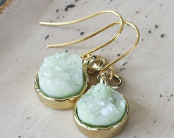 Mint Green Druzy Earrings, gold plated earrings, druzy jewelry, mint green earrings, quartz druzy, gemstone earrings