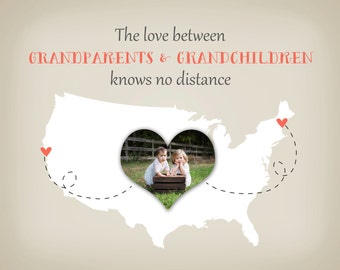Grandparents Christmas Gift - Gift for Grandma and Grandpa, Grandmother, Custom Map from Grandkids Print Photo Map Long Distance Hanukkah
