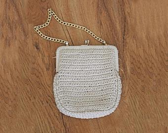 1970s vintage white ivory cream straw gold chain kiss lock handbag purse