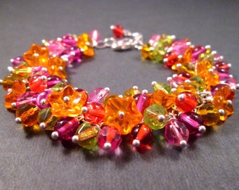Flower Charm Bracelet, Tropical Bouquet, Colorful and Silver Wire Wrapped Bracelet, FREE Shipping U.S.