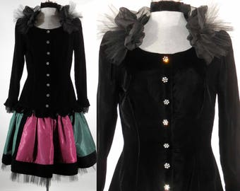 Vintage 1980s Miss O Oscar de la Renta dress special occasion  altered upcycled size sm-med