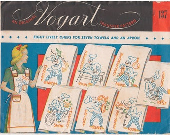 1940s - Vogart 137 Transfer Pattern Lively Chefs Embroidery Kitchen Towels Apron Accessories Days Of The Week Wash Iron Mend Rest Shop Clean