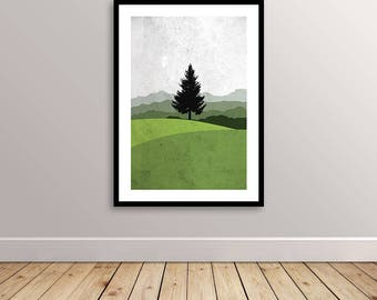 Printable Mountains Pine Tree Green Shades Poster Print Ready Instant Download