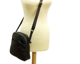 Sale! Small Black Leather Crossbody bag Women's cross body purse Bag small leather purse black Leather cross body