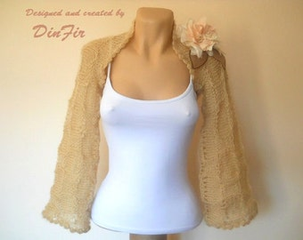 LIQUIDATION Stock 30% OFF Bolero Shrug Wedding Bridal Accessories Hand Knitted Cape Lace Women Capelet Cardigan Jacket Elegant Crochet Beige