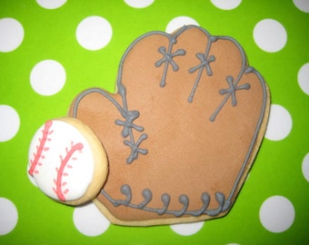 Baseball glove and baseball sugar cookies