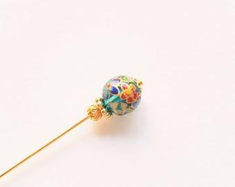 Aqua Tensha Bead Stick Pin